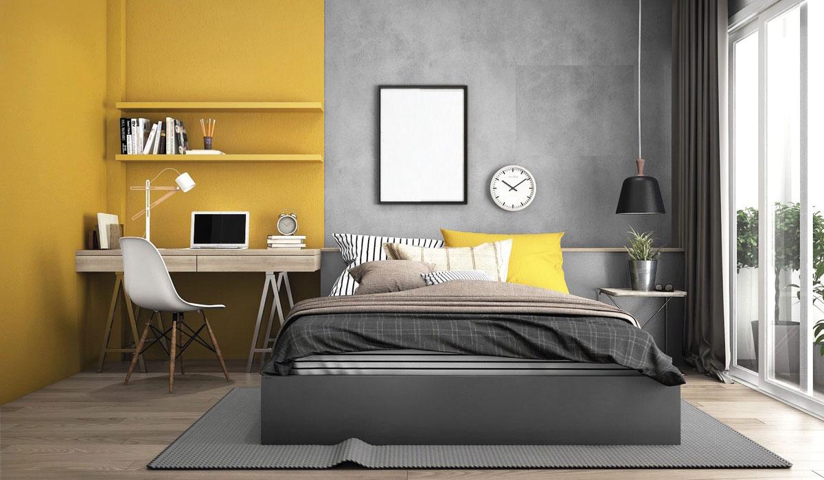 Ý tưởng sắp xếp kệ sách kết hợp bàn làm việc tinh tế trong phòng ngủ