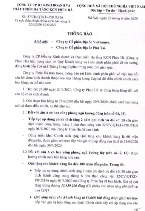 Qùa tặng tới 100 triệu khi mua căn hộ Thăng Long Capital